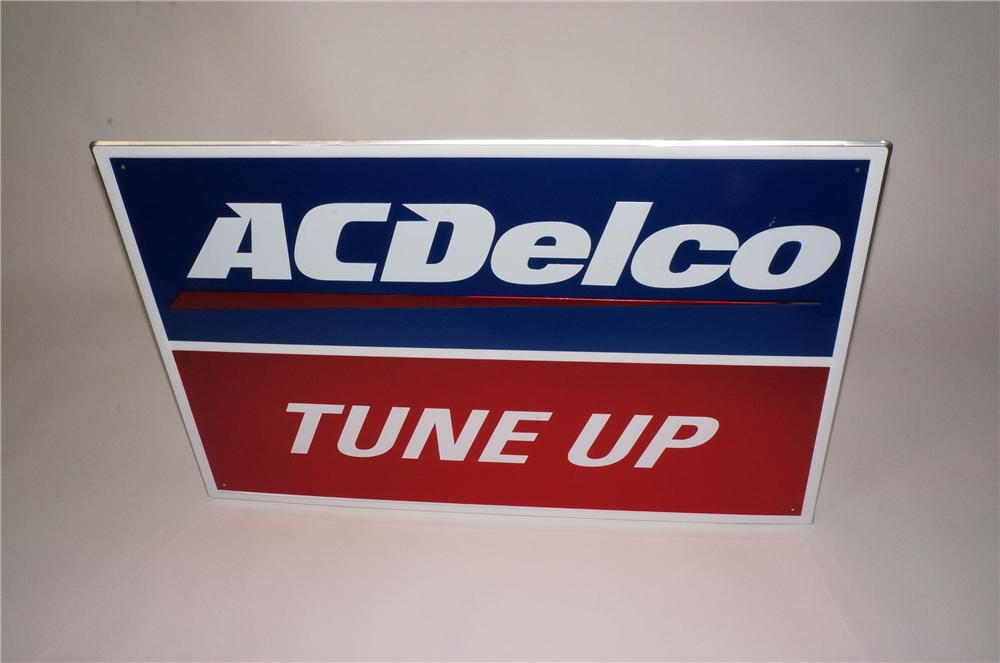 "N.O.S. GM AC Delco ""Tune Up"" single-sided embossed automotive garage sign.  Found unused! - Front 3/4 - 162494"