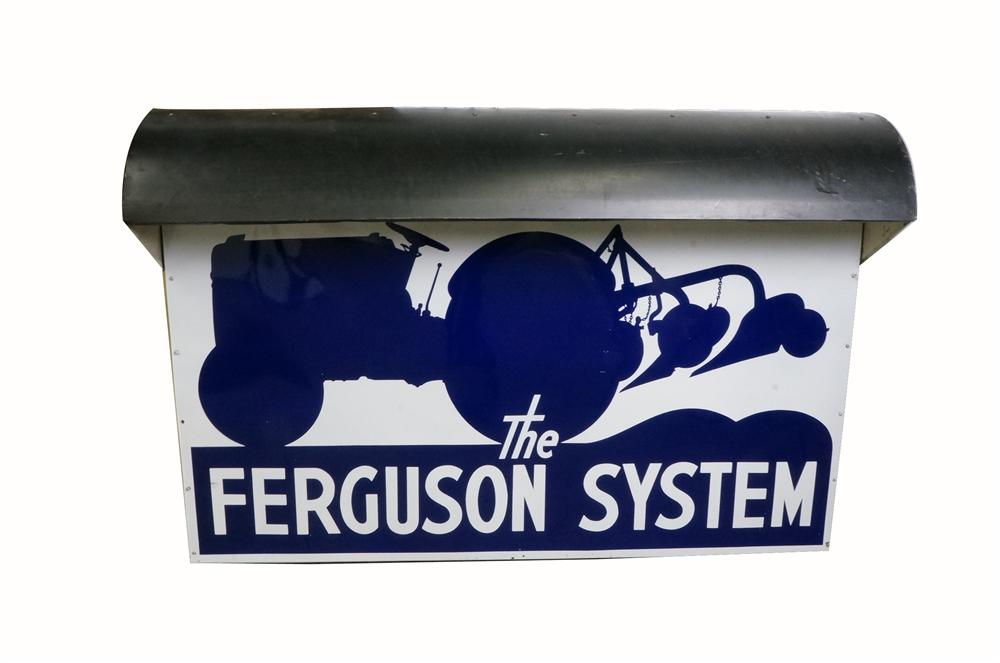 1930's-40's Ford Fergus Tractors System double-sided porcelain dealership sign with lighted bonnet. - Front 3/4 - 162498