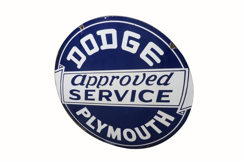 Sharp 1940's Dodge-Plymouth Approved Service double-sided porcelain dealership sign.  Both sides present well. - Front 3/4 - 162499