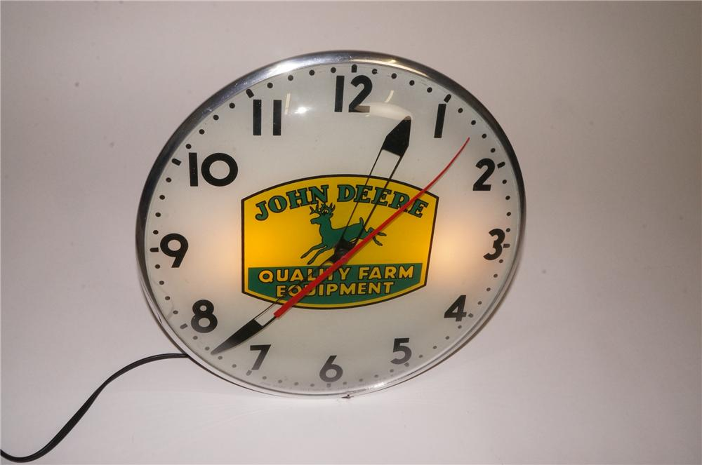 Extremely scarce late 1950's John Deere Quality Farm Equipment glass faced light-up clock by Telechron. - Front 3/4 - 162502