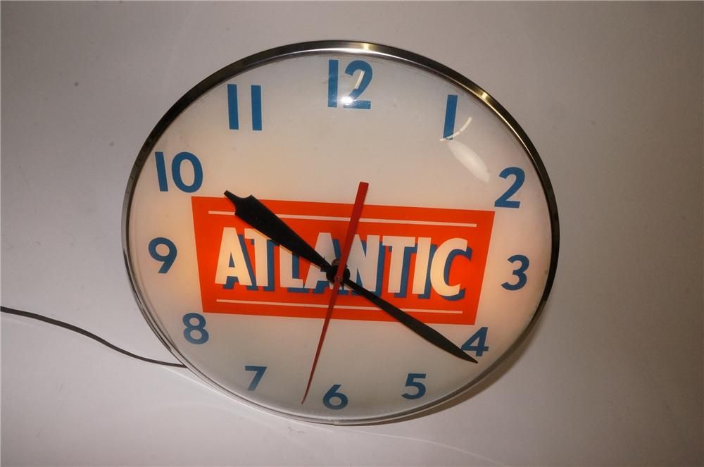 Choice 1950's-60's Atlantic Gasoline glass faced light-up service station clock.  Lights and works perfectly! - Front 3/4 - 162504