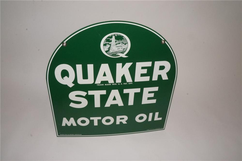 N.O.S. Quaker State Motor Oil double-sided die-cut tin tombstone shaped automotive garage sign. - Front 3/4 - 162507