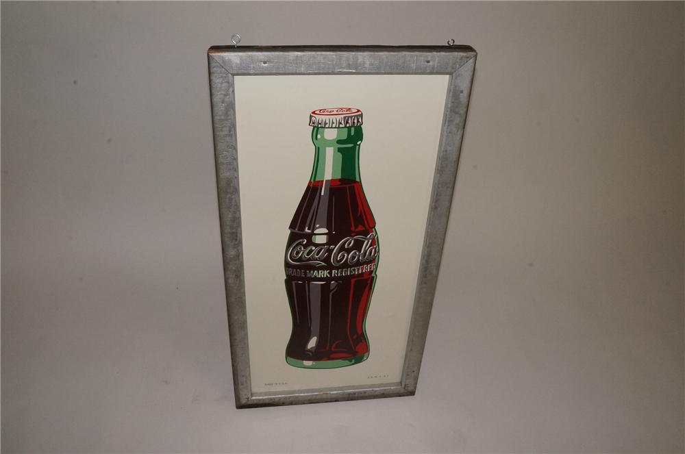Striking N.O.S. 1947 Coca-Cola wood framed tin sign with over-sized bottle graphic. A very choice find! - Front 3/4 - 162508