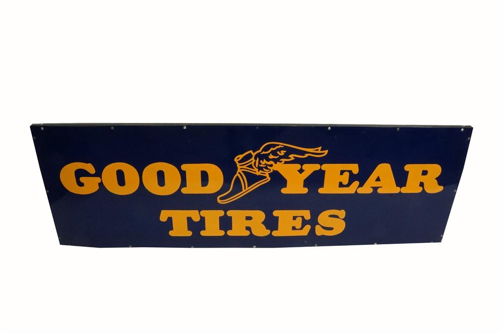 Spectacular 1930's Good Year Tires single-sided wood framed automotive garage sign with winged foot logo. - Front 3/4 - 162509
