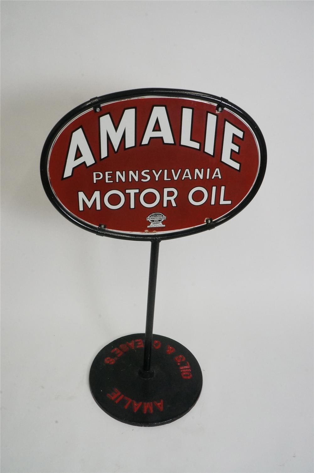 Sharp 1934 Amalie Pennsylvania Motor Oil double-sided porcelain curb sign in original stand. - Front 3/4 - 162510