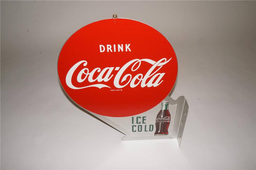 N.O.S. 1952 Drink Coca-Cola Ice Cold tin flange sign with bottle graphic.  Appears to have never been used. - Front 3/4 - 162512