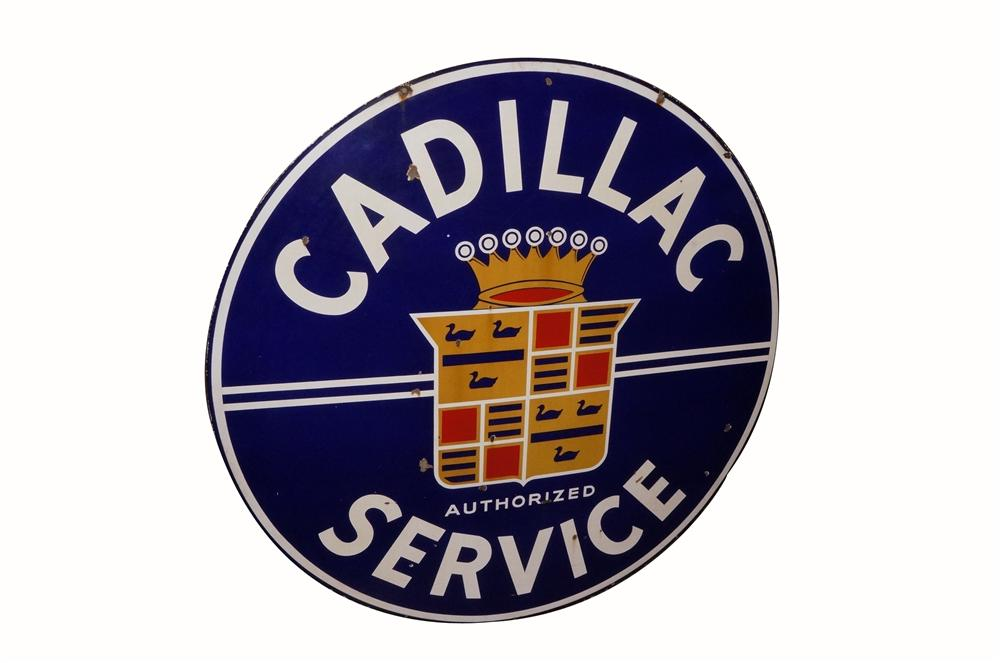 Rare large 1940's Cadillac Service double-sided porcelain dealership sign.  Hard to find large version. - Front 3/4 - 162520
