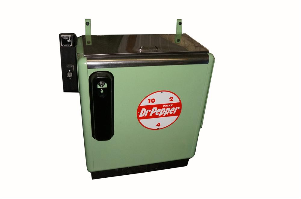 Highly desirable restored 1950's Dr. Pepper ten cent coin-operated soda machine. - Front 3/4 - 162524