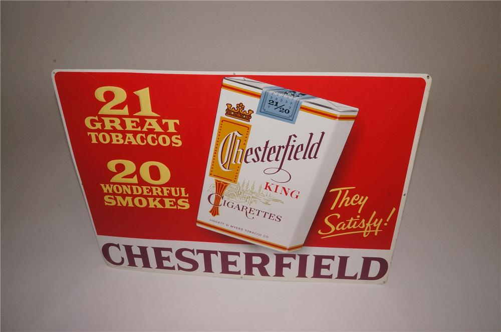 N.O.S. 1950's Chesterfield Cigarettes tin sign with embossed cigarette pack logo. - Front 3/4 - 162525