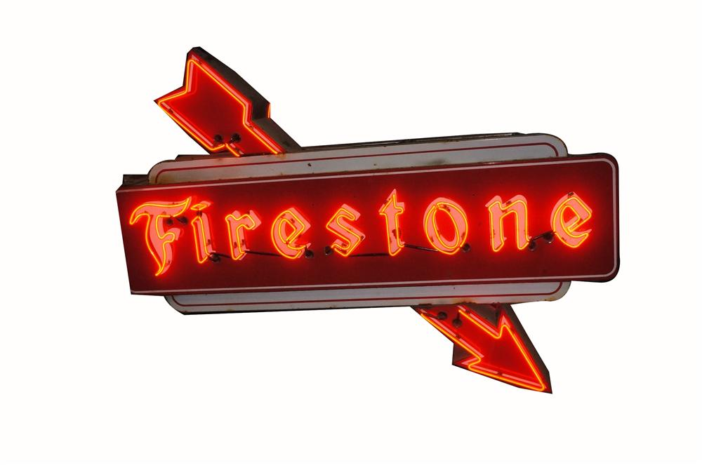 Absolutely stunning 1950's Firestone Tires double-sided porcelain neon automotive garage sign with arrows. - Front 3/4 - 162528