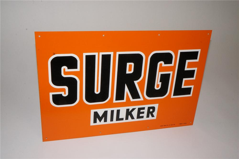 1950's N.O.S. Surge Milkers single-sided tin general store sign. - Front 3/4 - 162531