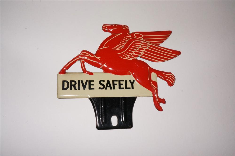 """N.O.S. 1940's Mobil Oil """"Drive Safely"""" die-cut tin Pegasus license plate attachment sign. - Front 3/4 - 162532"""