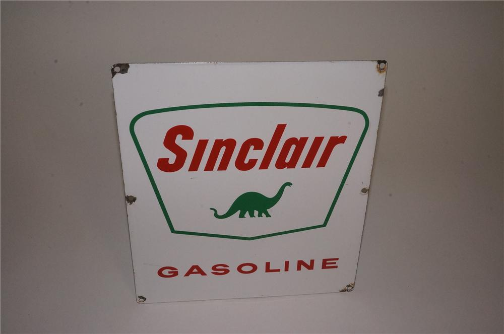 Late 50's-early 60's Sinclair Gasoline porcelain pump plate sign with dino logo. - Front 3/4 - 162535