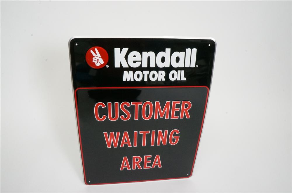 "N.O.S. Kendall Motor Oil ""Customer Waiting Area"" automotive garage sign.  Pulled out of the original shipping paper! - Front 3/4 - 162536"