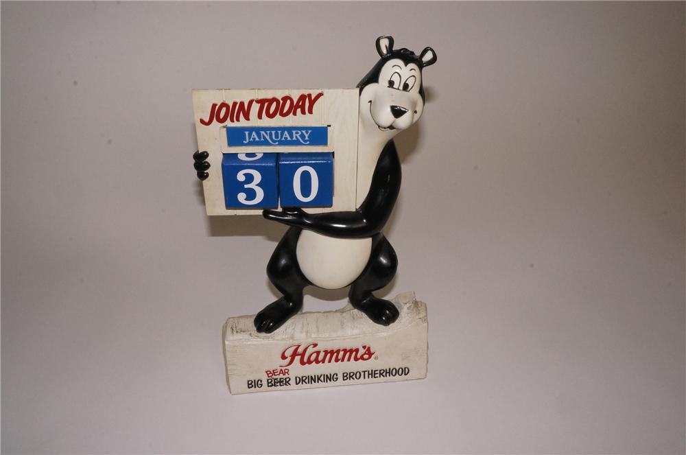 "Interesting circa 1960's Hamm's Beer three-dimensional bar back ""Bear"" calendar. - Front 3/4 - 162540"