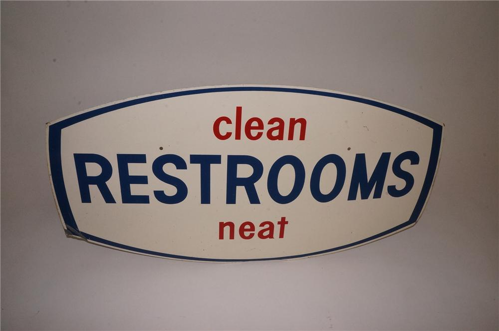 "Hard to find Husky Oil ""Clean-Neat Restrooms"" single-sided tin service station sign. - Front 3/4 - 162543"