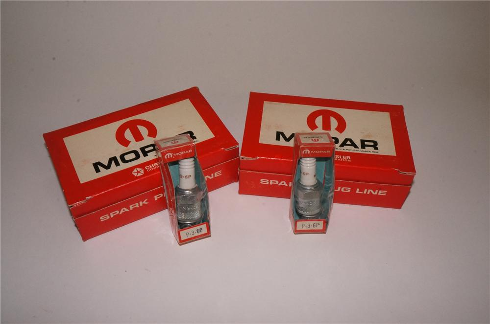 Lot of two N.O.S. 1960's Mopar Spark Plugs counter-top display boxes still full of unused plugs. - Front 3/4 - 162549