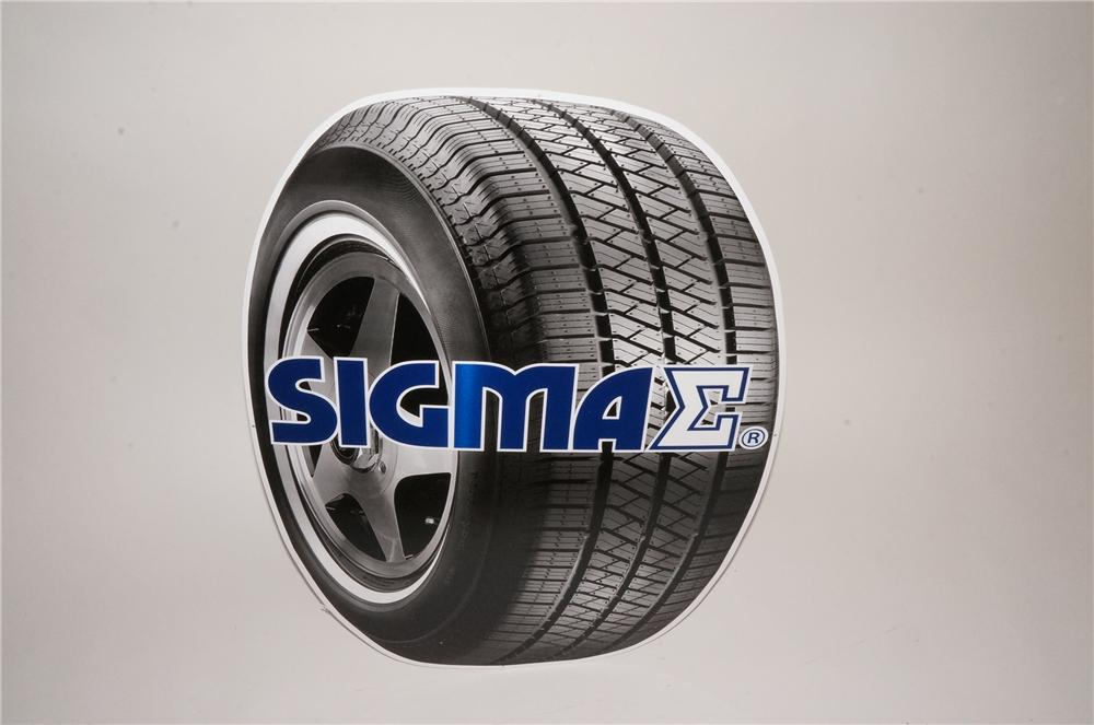 N.O.S. Sigma Tires die-cut tin tire shaped automotive garage sign.  Found unused! - Front 3/4 - 162555