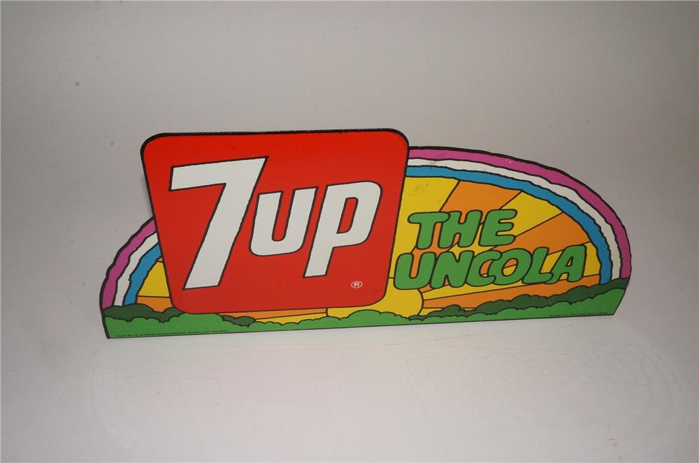 N.O.S. 1960's 7-up Peter Max style tin painted service station sign with flanged bottom. - Front 3/4 - 162557