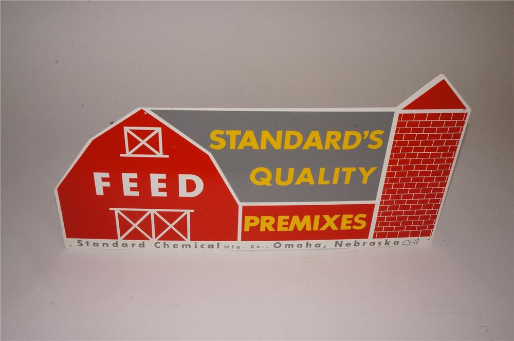 N.O.S. 1950's Standard Quality Pre-Mix Feeds die-cut tin barn shaped sign.  Found unused! - Front 3/4 - 162558
