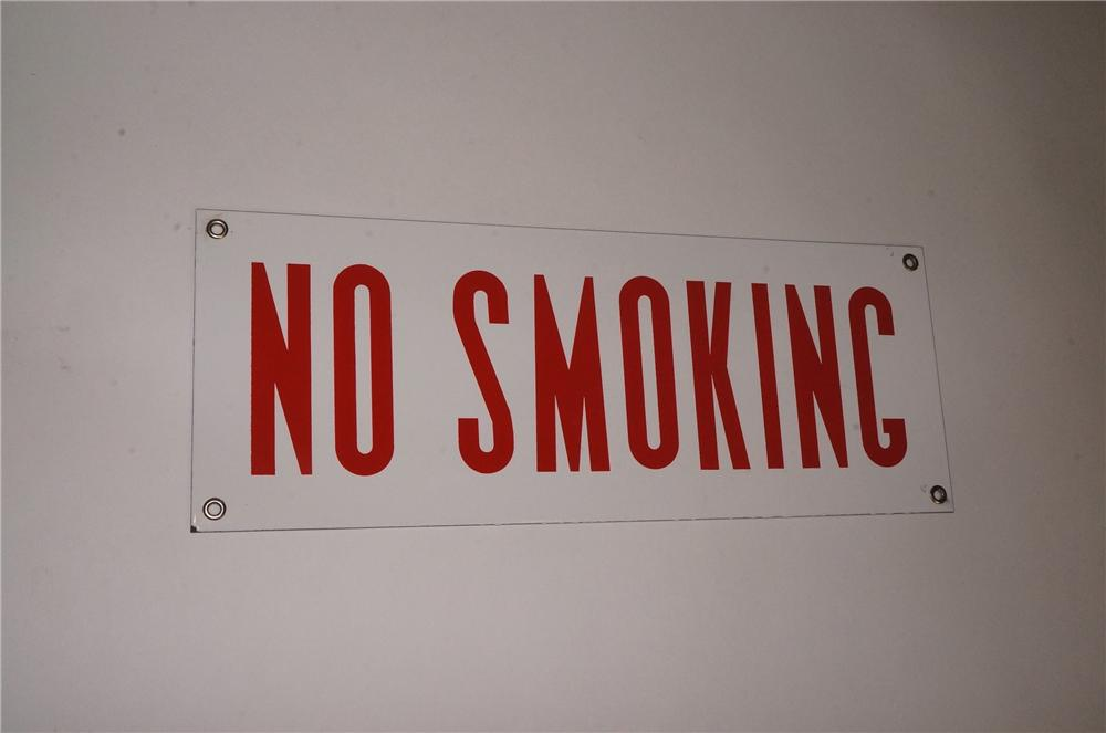 "N.O.S. 1940's-50's service station fuel island porcelain ""No Smoking"" sign.  Found unused. - Front 3/4 - 162560"