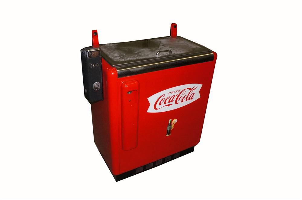Terrific 1950's professionally restored Coca-Cola ten cent coin-operated slider soda machine. - Front 3/4 - 162570