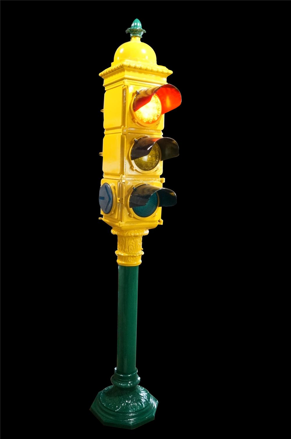 Superlative 1930's restored Chicago Traffic light from famed Michigan Avenue.  The finest stop light we have ever seen offered! - Front 3/4 - 162572