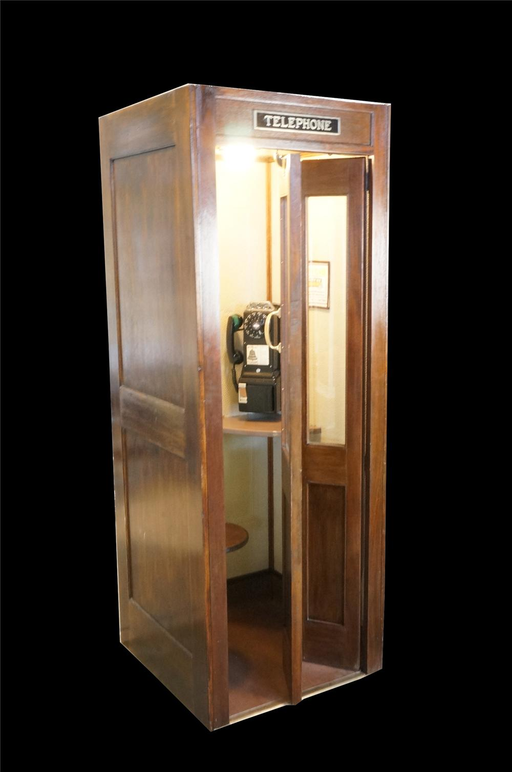 Museum quality restored 1930's Bell Telephone wooden public telephone booth complete with operating pay phone. - Front 3/4 - 162578