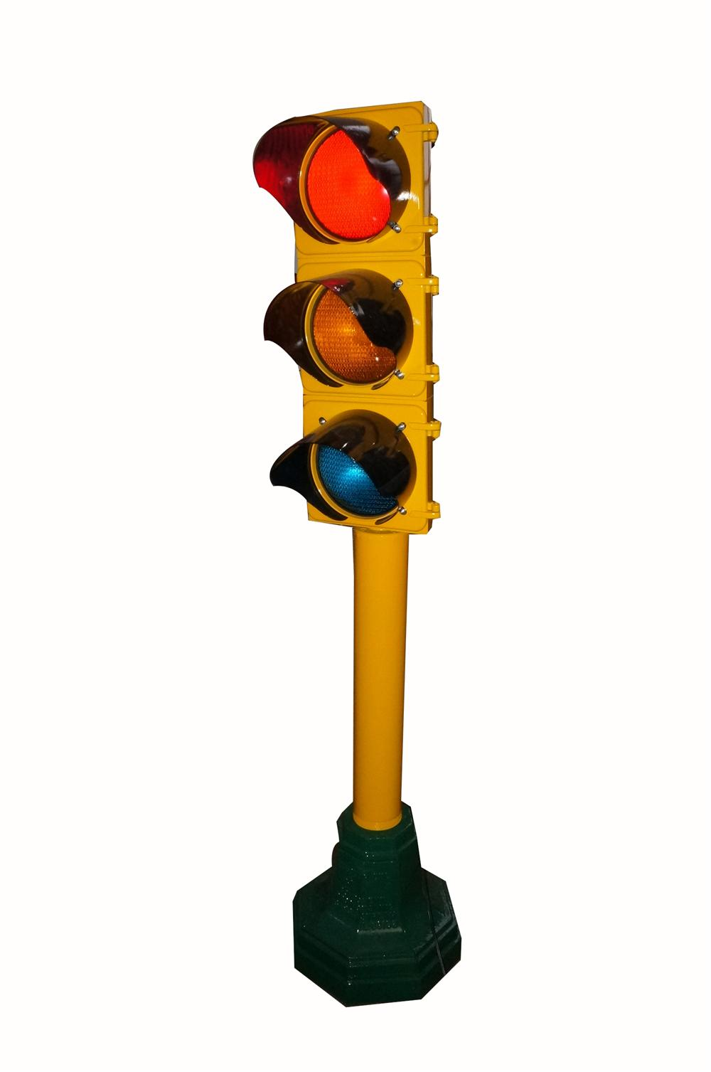 Fantastically restored vintage municipal stop light on original stand.  Lights and works great! - Front 3/4 - 162581