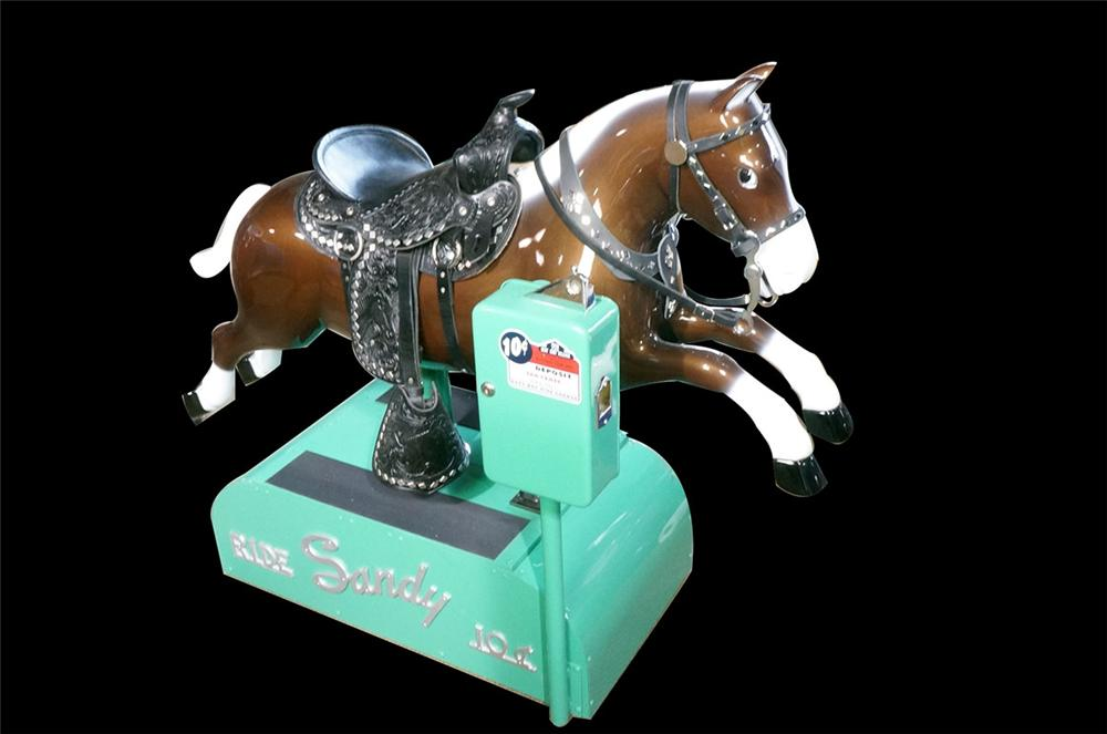 "Fun 1950's ""Sandy"" restored dime store coin-operated kiddy ride.  Restored to day one condition with leather saddle, - Front 3/4 - 162583"