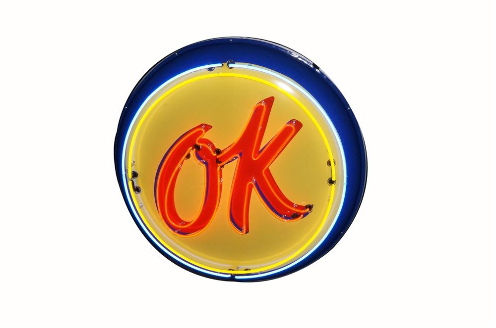 "1950's restored Chevrolet ""OK"" Used Cars double-sided three-dimensional porcelain button sign with animated neon. - Front 3/4 - 162586"