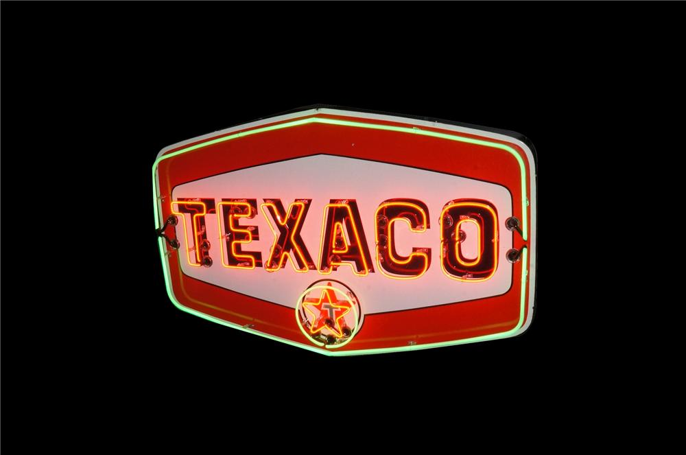 Impressive late 1950's Texaco Oil single-sided neon porcelain service station sign with animated neon. - Front 3/4 - 162587