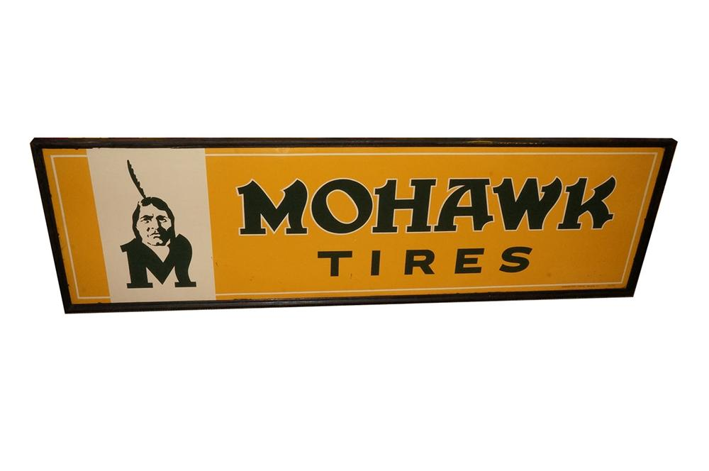 Rare N.O.S. 1940's Mohawk Tires wood framed tin automotive garage sign with Chieftain logo. - Front 3/4 - 162588