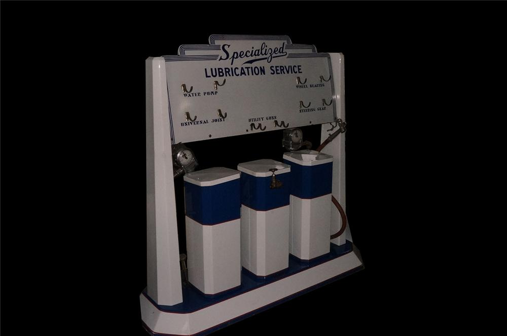 1930's Specialized Lubrication Service porcelain finished automotive garage grease dispenser/grease gun rack island. - Front 3/4 - 162590