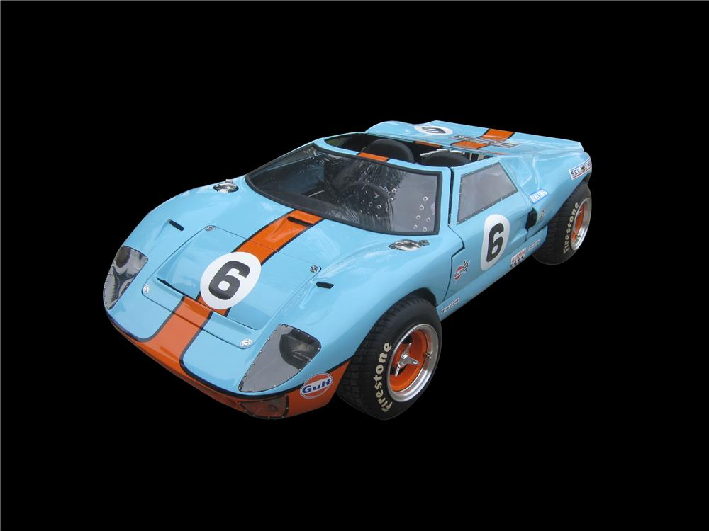 Charity Item - One of a kind, custom hand built, 1/2 scale tribute miniature race car to the Le Mans winning Ford GT-40 by McLaren Classic Restorations. - Front 3/4 - 162639