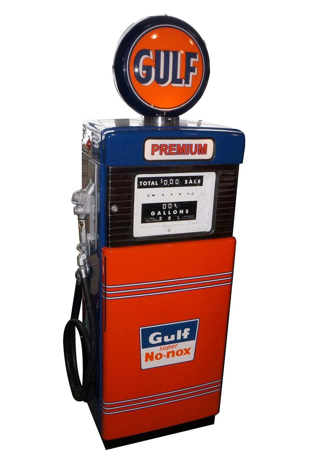 "Neat late 50's-early 60's Gulf Oil ""Premium Gasoline"" Wayne model #  restored service station gas pump. - Front 3/4 - 162646"
