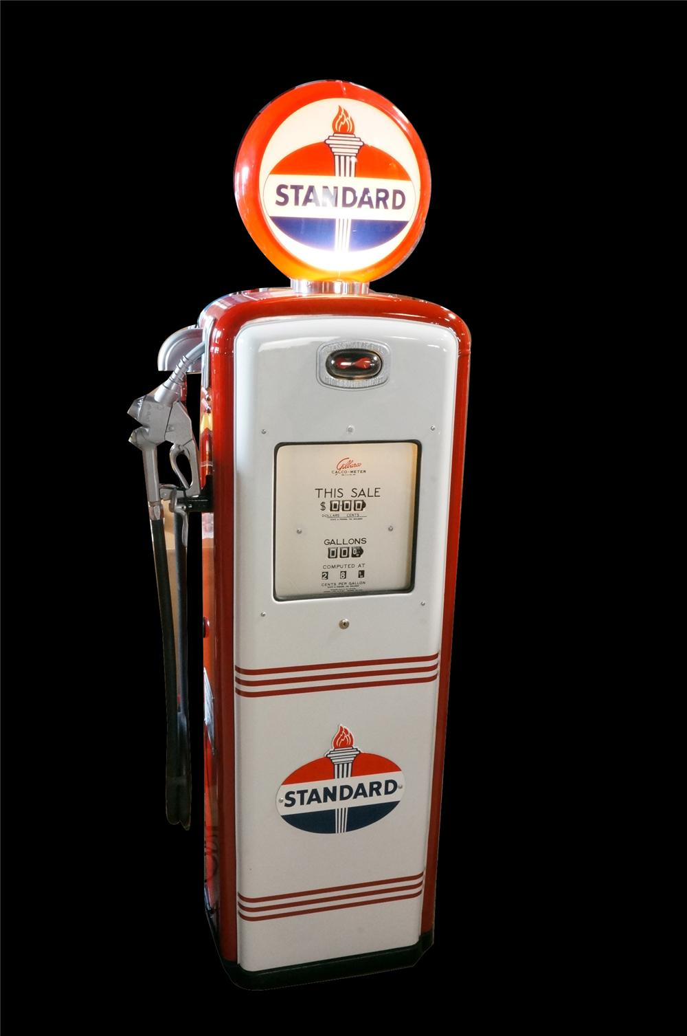 Late 1940's Standard Oil Gilbarco model #96 restored service station gas pump. - Front 3/4 - 162648