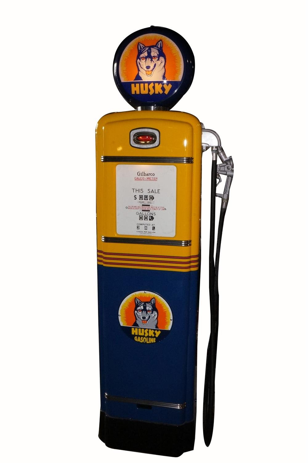 Spectacular late 1940's-early 50's Husky Oil Gilbarco model #96 restored service station gas pump. - Front 3/4 - 162654