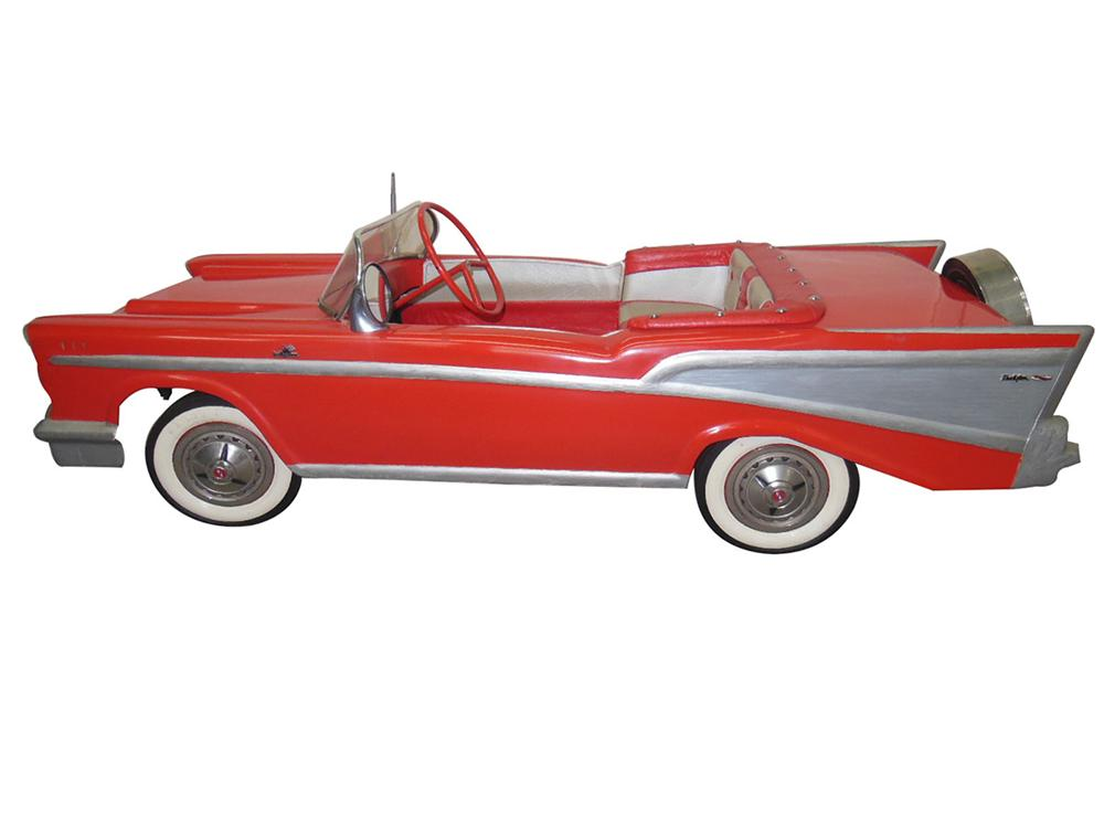 Extremely rare 1957 Chevrolet Belair Convertible Pedal Car. - Front 3/4 - 162664