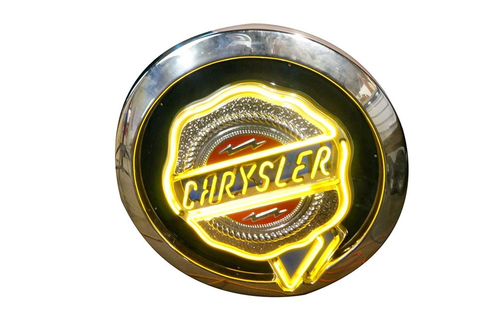 Neat late model Chrysler Automobiles vintage logo neon showroom sign. - Front 3/4 - 162678