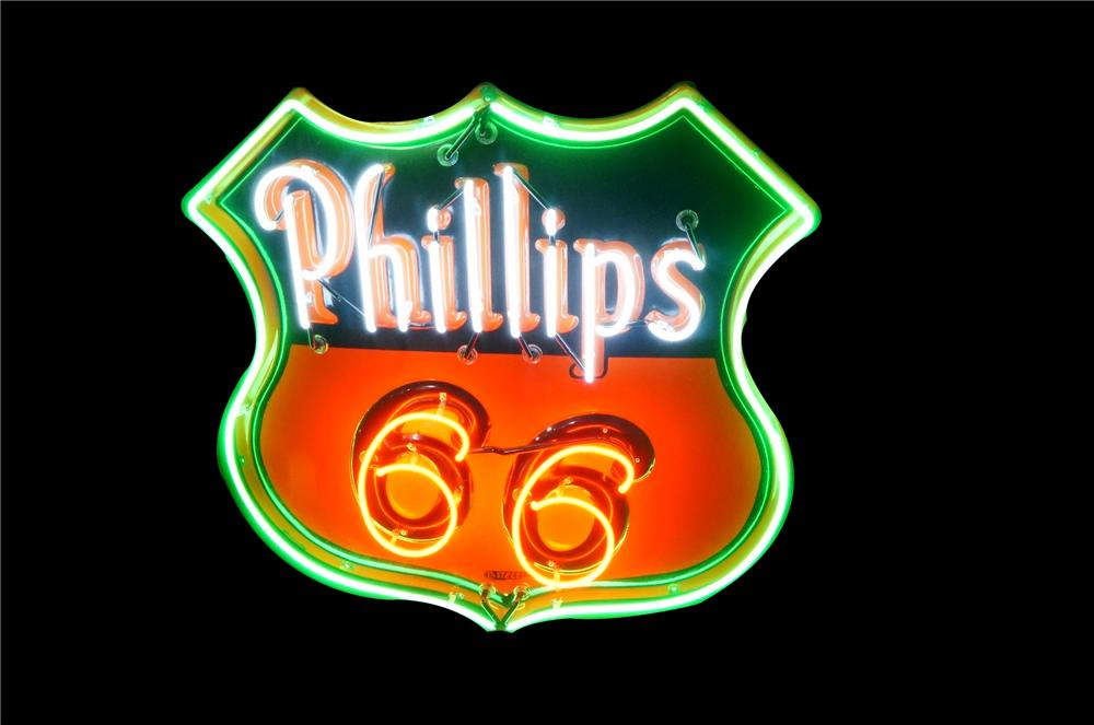 Stunning 1940's Phillips 66 shield shaped neon porcelain service station sign.  Simply immaculate! - Front 3/4 - 162681