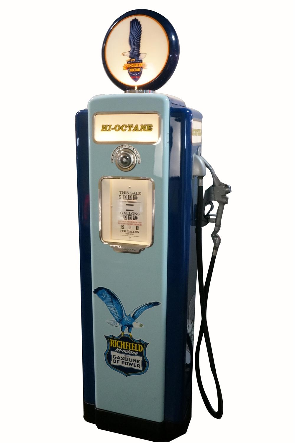Late 1940's Richfield Hi-Octane Gasoline Wayne model #70 restored service station gas pump with lighted-ad panels. - Front 3/4 - 162769