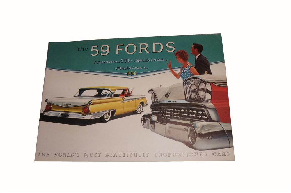 Fabulous N.O.S. 1959 Ford Fairlane 20 page over-sized color showroom sales brochure. - Front 3/4 - 162777