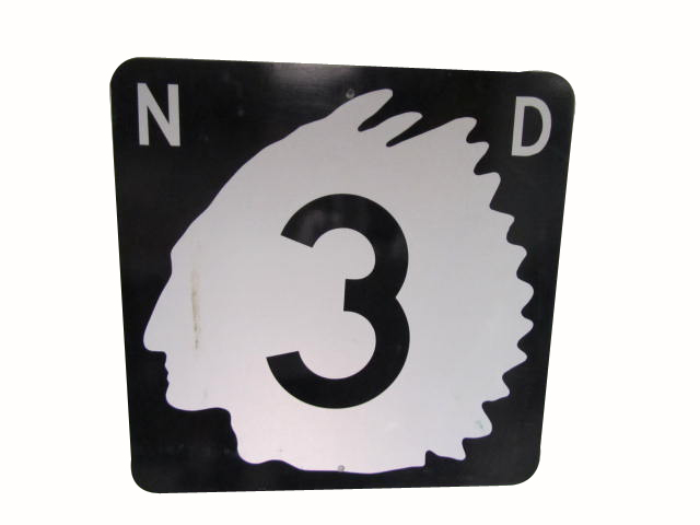 Killer vintage North Dakota Highway 3 metal road sign with Native American Chieftain logo.  Presents strongly! - Front 3/4 - 162780