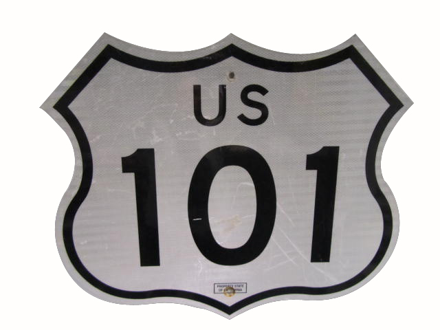Highly desirable U.S. 101 highway metal road sign. - Front 3/4 - 162781