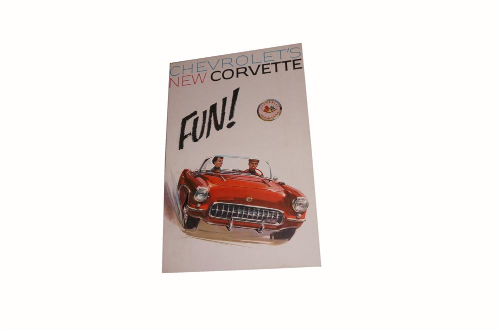 N.O.S. 1957 New Chevrolet Corvette large tri-fold showroom sales brochure. - Front 3/4 - 162785