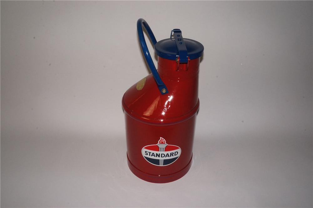 Choice 1920's-30's restored Standard Oil gas/oil can with safety lid. - Front 3/4 - 162791