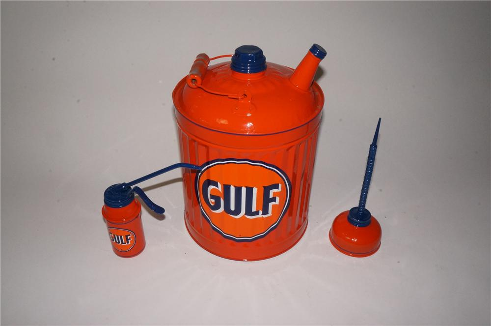 Lot of three Gulf Oil restored service department cans consisting of two handy oilers and a multi fluid can. - Front 3/4 - 162796