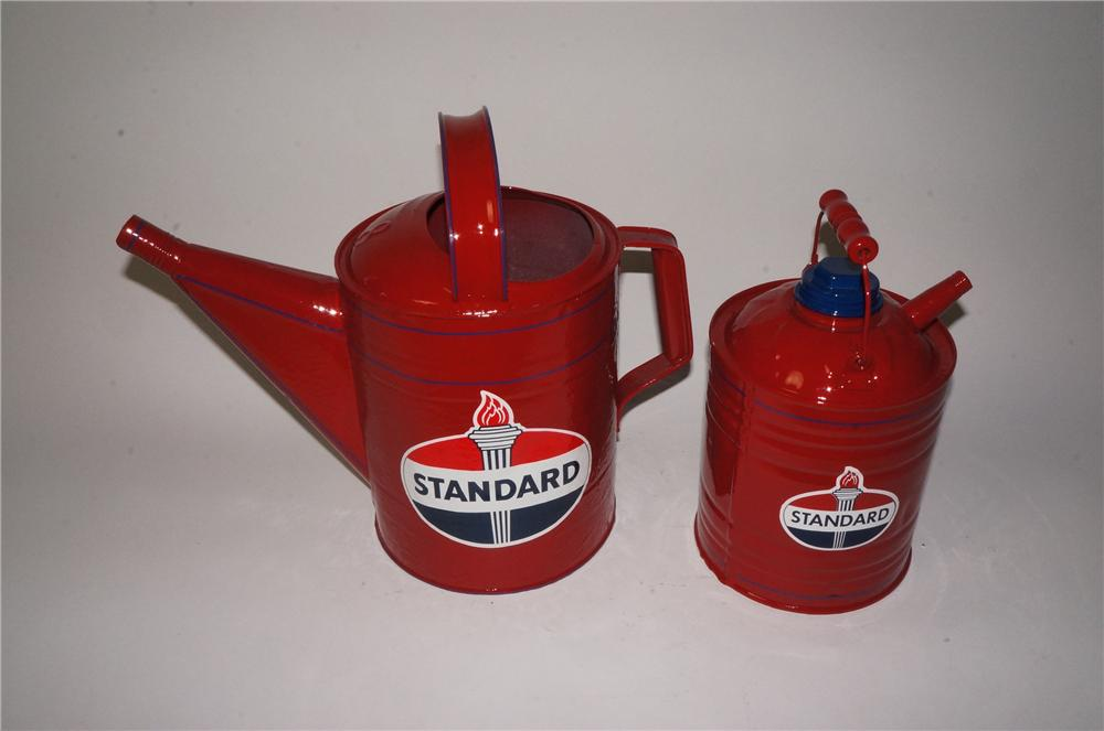 Lot of two restored 1930's-40's Standard Oil service department cans. - Front 3/4 - 162798