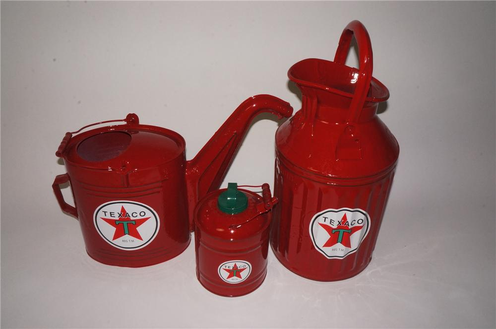 Lot of three restored 1920's-30's Texaco oil filling station service departments cans. - Front 3/4 - 162800